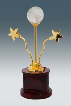 Crystal Globe And Flying Stars Golden Trophy GK 839