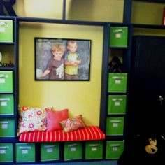 Functional seating and cubby storage for the entry way at preschool. Luv it!