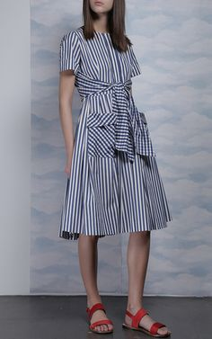 Short Sleeve Gingham And Striped Cotton Dress by DICE KAYEK for Preorder on Moda Operandi