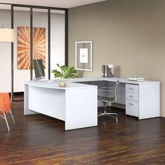 Bush Business Studio C U Shaped Desk with Mobile File Cabinet, White, Bush Business Furniture Furniture Layout, White Furniture, Home Office Furniture, Furniture Design, Business Furniture, Furniture Projects, Bedroom Furniture, Modern Furniture, Bedroom Drawers