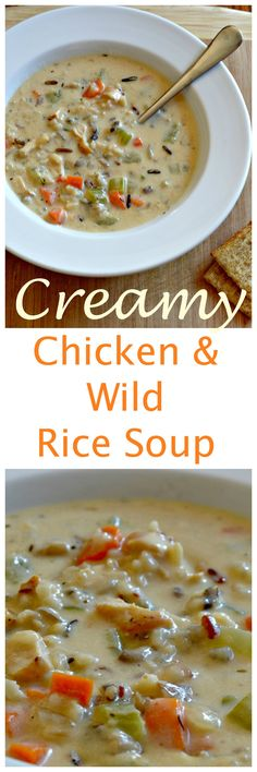 Now THIS is what winter is all about!  Pure comfort food in a bowl!  Shredded chicken, onions, carrots, celery, mushrooms and wild rice in a beautifully creamy broth based soup!  #chickensoup #wildrice #soup