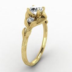 Closer look of our new Nature Twine and Twig Yellow Gold Diamonds ring.
