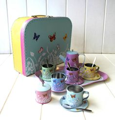 butterfly children's tin tea set by posh totty designs interiors | notonthehighstreet.com