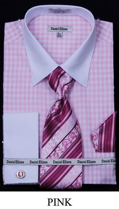 This Daniel Ellissa men's french cuff dress shirt comes in small checker and includes tie, hanky and cuff links. These unique dress shirts are a great compliment to your new suit and are available in 60% cotton / 40% polyester fabric.