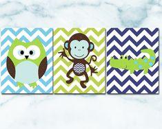Monkey Nursery, Baby Boy Nursery Decor, Owl Nursery, Baby Room Art, Baby Wall Art, Baby Boy Nurseries, Baby Room Decor, Art Wall Kids, Nursery Sets