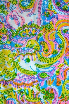 Vintage Lilly Pulitzer Fabric: Elephants by Zuzek Key West Hand Prints, Inc. $18.99 via the Preppy Pony Shop on etsy
