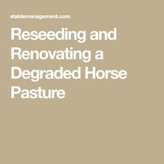 Reseeding and Renova
