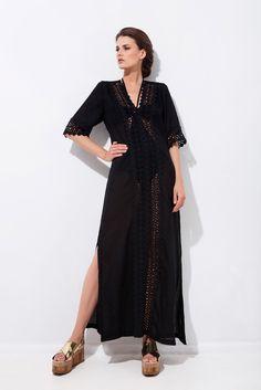Καφτάνι με διακοσμητική τρέσα και 3/4 μανίκι Ss16, Dresses, Fashion, Vestidos, Moda, Fashion Styles, Dress, Fashion Illustrations, Gown