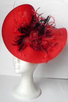 Kentucky Derby hat / Red hat fascinator headpiece / by TocameMika