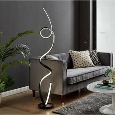 Silver LED Amsterdam Floor Lamp - On Sale - Overstock - 28178910 - large - silver Silver Floor Lamp, Floor Lamp Base, White Floor Lamp, Led Floor Lamp, Driftwood Flooring, Lamp Bases, Contemporary Decor, Entertainment Center, Tvs