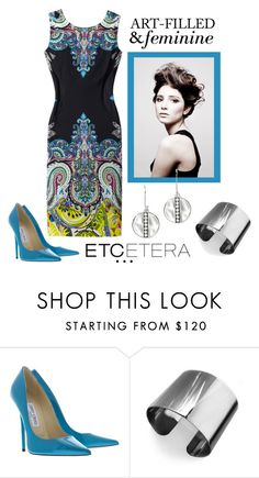 """""""Etcetera: FEMININE dress."""" by etcetera-nyc ❤ liked on Polyvore featuring Etcetera, Angelo, Jimmy Choo, Tuleste, Ippolita, women's clothing, women's fashion, women, female and woman"""