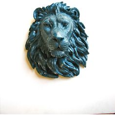 Dark Wave Faux Taxidermy Large Lion Head Wall mount/wall Hanging... ($87) ❤ liked on Polyvore featuring home, home decor, wall art, grey, home & living, home décor, wall décor, wall hangings, grey wall art and lion wall art