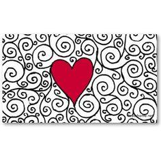 Shop Heart Business Card created by elisaemme. Zentangle Drawings, Doodles Zentangles, Zentangle Patterns, Doodle Drawings, Heart Doodle, Zen Doodle, Doodle Art, Valentine Doodle, Valentines Art