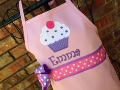 Personalized Cupcake Apron in Light Pink & Purple by BabyPaige on Etsy