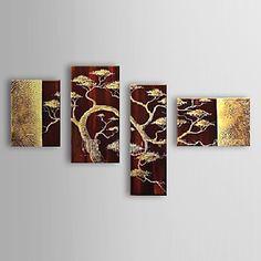 Hand geschilderd olieverfschilderij Botanische Boom met gestrekte frame set van 4 1308-FL0742 – EUR € 90.74