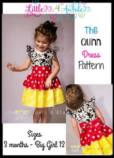 Girls Quinn Dress Pattern - Ellie and Mac Formerly Little 4 Awhile Disney Dresses For Toddlers, Ellie And Mac, Girl Dress Patterns, Pattern Dress, Cosplay Dress, Pdf Sewing Patterns, Toddler Dress, Kids Outfits, Girls Dresses