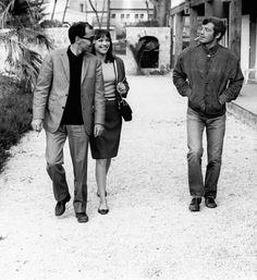 Anna Karina, Jean Paul Belmondo and Jean Luc Godard on the set of Pierrot le fou, 1965