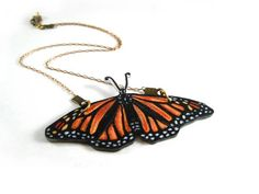 Monarch Butterfly Necklace, Shrink Plastic Jewelry, Insect, Entomology, Orange and Black, Wearable Art    I love her stuff!