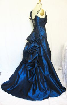 Bustle Gown Blue Claudia Steampunk wedding gown. $599.99, via Etsy.