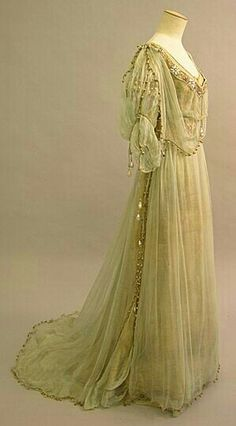 Side view of Beautiful Belle Epoque evening gown