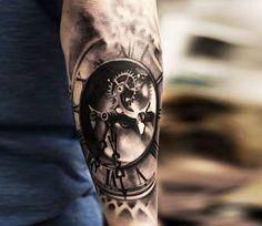 3D clock tattoo by Oscar Akermo