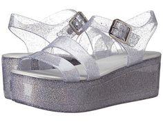 Sparkly silver platform jellies!