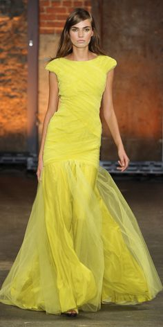 Christian Siriano yellow evening dress