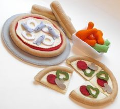 Felt Food Pattern Pizza Slices, Pan, Chicken Wings