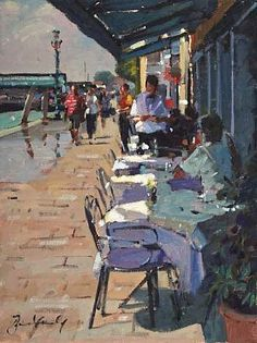 View Café on the Zattere by Bruce Yardley on artnet. Browse more artworks Bruce Yardley from Catto Gallery. Impressionist Paintings, Landscape Paintings, Landscapes, Cafe Art, People Art, Urban Landscape, Figure Painting, Beautiful Paintings, Artist Art