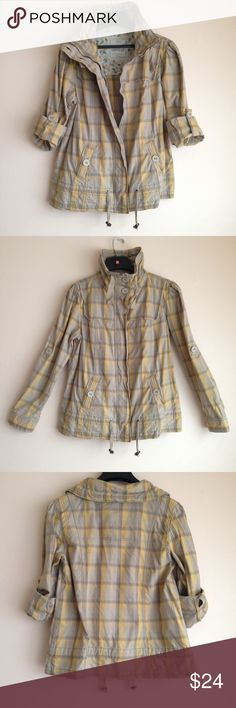 Versatile Cotton Jacket Versatile and Adorable Grey/Yellow Plaid Jacket  Material: 100% cotton  Length: approx. 26  inches  Width: approx. 21 inches at chest   Full length sleeves or button up to 3/4 sleeves  Zipper closure, 2 open pockets  EUC - worn a couple times   $5 off your 1st purchase! Use promo code NVMES. Purchase doesn't have to be from my closet.  Smoke free, cat friendly home Mossimo Supply Co Jackets & Coats Utility Jackets
