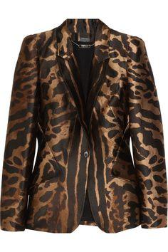 Alexander McQueen|Ocelot-jacquard satin-twill blazer