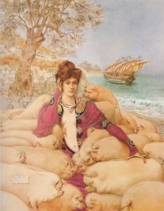 Circe is Greek minor goddess of magic (witch or nymph, enchantress or sorceress). Daughter of Helios, god of the sun, and Perse an Oceanid. Her brothers were Aeetes, the keeper of the Golden Fleece, and Perses. Her sister was Pasiphaë, the wife of King Minos and mother of the Minotaur. Circe invited Odysseus' crew to a feast, laced with one of her magical potions, and turned them all into swine.