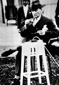 Gazi Mustafa Kemal drinking his Turkish coffee at the Atatürk Orman Çiftliği, June 2nd 1930