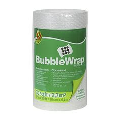 Duck Brand Bubble Wrap Protective Packaging, 12-Inch Wide X 30-Feet Long, Single Roll (393251)