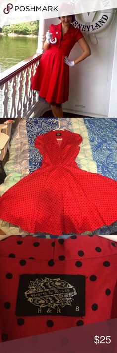 Retro 50's Dress , Dapper Day Wore this for Dapper Day at Disneyland , adorable retro dress in perfect condition, fits like 4 even though it says 8, not Betsy labeled for retro style Betsey Johnson Dresses Midi