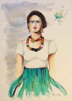Frida e a saia verde - Aquarela
