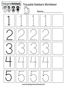 Traceable Numbers Worksheet - Free Kindergarten Math Worksheet for Kids