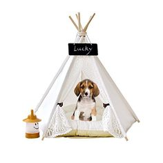 Pet Teepee Dog & Cat Bed - Dog Tents & Pet Houses With Cushion #white #lacestyle #dog #teepee