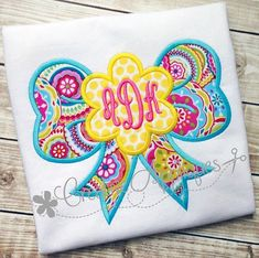 Flower Bow Digital Machine Embroidery Applique by Creativeapplique