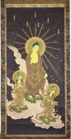Raigo zu - Descent of Amida, flanked by Kannon and Seishi. Amitabha Buddha, Gautama Buddha, Buddhist Teachings, Buddhist Art, Japanese Drawings, Japanese Art, Japanese Buddhism, Mahayana Buddhism, British Museum