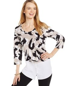 Style&co. Layered-Look Scuba-Print Top, Only at Macy's