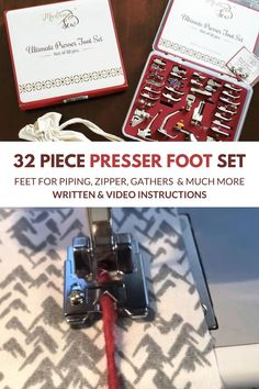 This set includes 32 of the most popular presser feet that allow you to sew straight, precise lines, install zippers, and add eye-catching embellishments. Their top quality construction ensure long-lasting durability! Sewing Lessons, Sewing Tips, Sewing Hacks, Sewing Tutorials, Sewing Ideas, Sewing Crafts, Sewing Projects, Sewing Patterns, Diy Crafts