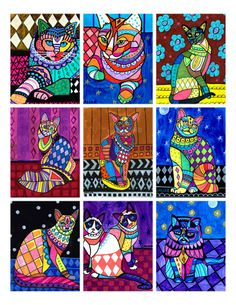 50 OFF  Cat ACEO card print set  Cat Folk Art by HeatherGallerArt, $11.99