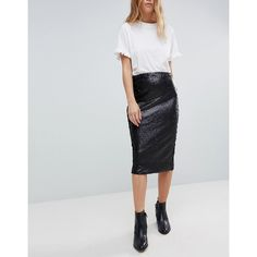 Minkpink Sequin Midi Skirt (115 PEN) ❤ liked on Polyvore featuring skirts, black, high waisted knee length skirt, high-waisted midi skirts, jersey skirt, patterned skirts and sequin jersey