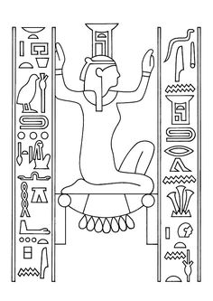 Egyptian Party : activity idea : Egypt coloring pages for kids : coloriage hiéroglyphes