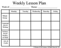 Weekly Preschool Lesson Plan Template Curriculum