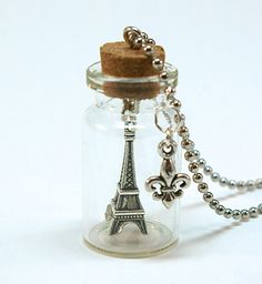 Eiffel Tower Mini Bottle Necklace- Mini Glass Bottle with Eiffel Tower Charm