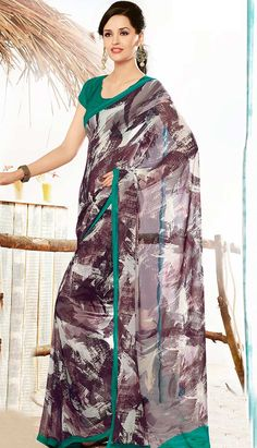 Select the Beautiful Indian Dusty Brown Georgette #Printed Saree Online   #Price INR- 1522 Link- http://alturl.com/85esr