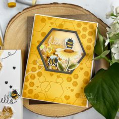Hexagon Cards, Acetate Cards, Hero Arts Cards, Sunflower Cards, Honey Bee Stamps, Bee Cards, Love Stamps, Bee Theme, Bee Happy