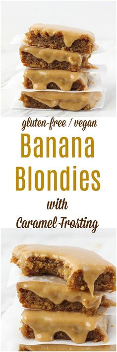 Banana Blondies with Caramel Frosting [Gluten-Free / Vegan] - These gluten-free and vegan Banana Blondies with Caramel Frosting are a fudgy, banana treat!